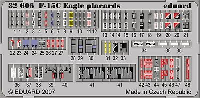 Eduard Models Aircraft- F15C Eagle Pladcards -- Plastic Model Aircraft Accessory -- 1/32 Scale -- #32606