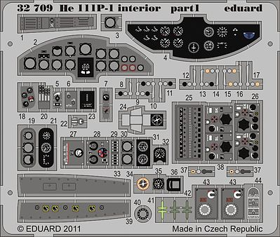 Eduard Models Aircraft- He111P1 Interior -- Plastic Model Aircraft Accessory -- 1/32 Scale -- #32709