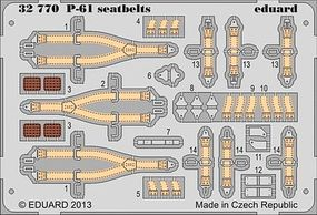 Eduard-Models Aircraft- P61 Seatbelts Plastic Model Aircraft Accessory 1/32 Scale #32770