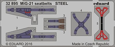 Eduard Models 1/32 Aircraft- Seatbelts MiG21 Steel (Painted)