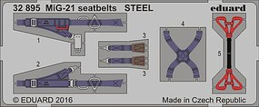 Eduard-Models 1/32 Aircraft- Seatbelts MiG21 Steel (Painted)