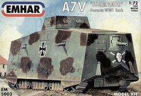 Emhar-squadron WWI A7V Sturm Pz Tank Plastic Model Military Vehicle Kit 1/72 Scale #5003