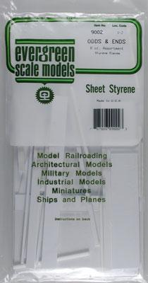 Evergreen Plastic Styrene Odds & Ends -- Model Railroad Scratch Building Supply -- #9002