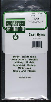 Evergreen Plastic Styrene Plain Assortment (3) -- Model Railroad Scratch Building Supply -- #9008