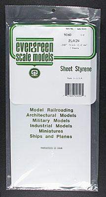 Evergreen Plastic Styrene Plain Sheet .040x6x12 (2) -- Model Railroad Scratch Building Supply -- #9040