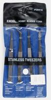 Excel Stainless Steel Tweezer Set (4pc)