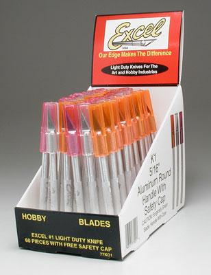 Excel Hobby Blades Light Duty #1 Knife w/Cap (60pc) Display
