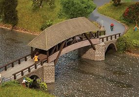 Faller Wood Covered Arched Bridge Kit HO Scale Model Railroad Accessory #120494