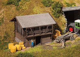 Faller Hay Barn Weathered Kit HO Scale Model Railroad Building #130382