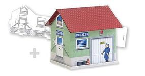 Faller Police Department Paintable Fold & Snap Cardstock Kit HO Scale Model Railroad Building #150150
