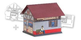 Faller Bakery Paintable Fold & Snap Cardstock Kit HO Scale Model Railroad Building #150170