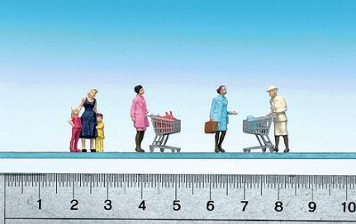 Faller Gmbh Supermarket Shoppers w/Carts -- HO Scale Model Railroad Figures -- #151035