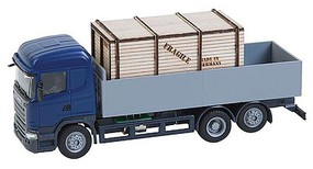 Faller Scania R 13 HL Low-Side Truck w/Wooden Crate Load - Car System Blue, Gray