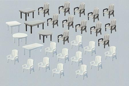Faller Gmbh 6 Tables & 24 Patio Chairs -- HO Scale Model Railroad Accessory -- #180439