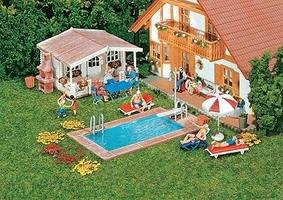 Faller Swimming Pool & Utility Shed Kit HO Scale Model Railroad Building #180542