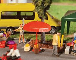 Faller Sun Umbrellas, Tables & Benches Kit HO Scale Model Railroad Building Accessory #180910