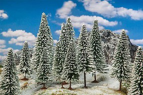 Faller Snow-Covered Fir Trees 3-15/16 to 5-1/2 10 to 14cm Tall pkg(18)