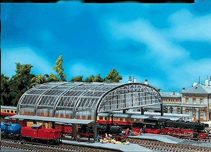 Faller Gmbh Glass-Roofed Train Shed -- N Scale Model Railroad Building -- #222127