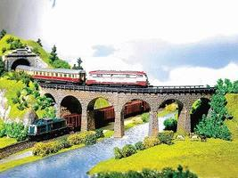 Faller Curved Viaduct Kit N Scale Model Railroad Bridge #222586