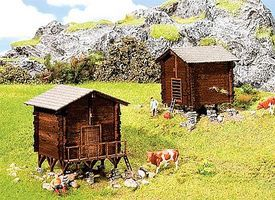Faller Hay Barn & Granary Buildings Kit N Scale Model Railroad Building #232368