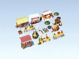 Faller Market Stands & Cart N Scale Model Railroad Building Accessory #272533