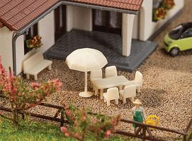 Faller Tables, Chairs & Umbrellas N Scale Model Railroad Building Accessory #272905