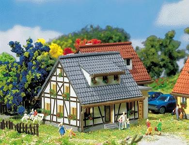 Faller Gmbh Half-Timbered House with Blue Roof -- Z Scale Model Railroad Building -- #282760