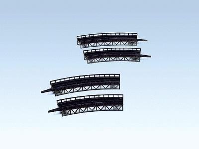 Faller Gmbh Bridges-Curved Steel Kit (4) -- Z Scale Model Railroad Bridge -- #282905