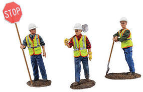 First-Gear Die Cast Construction Figure Set #1 One Each- Flagman, Shovel Over Shoulder, Leaning on Shovel - 1/50 Scale