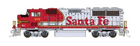 Fox EMD GP60M w/LokSound & DCC Santa Fe #111 (Warbonnet, silver, red, black Anti-Glare Nose, Small US Flag)