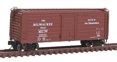 Fox Valley Models Short-Rib 40' Rib-Side Boxcar Milwaukee Road #21523 -- N Scale Model Train Freight Car -- #90221
