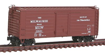 Fox Valley Models Short-Rib 40' Rib-Side Boxcar Milwaukee Road #21818 -- N Scale Model Train Freight Car -- #90224