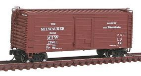 Fox Short-Rib 40 Rib-Side Boxcar Milwaukee Road #21818 N Scale Model Train Freight Car #90224