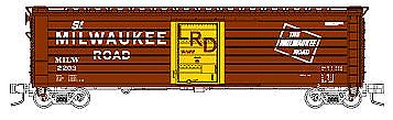 Fox Valley Models 50' Single-Door Rib-Side Boxcar Milwaukee Road #2296 -- N Scale Model Train Freight Car -- #90420