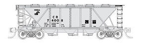 Fox H30 3-Bay Covered Hopper Conrail #74008 (gray, black) N Scale Model Train Freight Car #90519