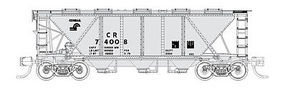 Fox H30 3-Bay Covered Hopper Conrail #74011 (gray, black) N Scale Model Train Freight Car #90520