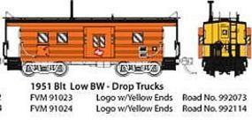 Fox Low-Window Rib-Side Caboose Milwaukee Road #992 N Scale Model Train Freight Car #91024