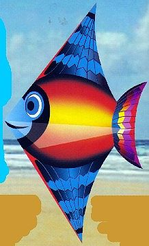 Gayla Industries 52''x28'' Sun Fish Designer Delta Kite -- Single-Line Kite -- #226