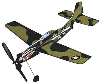 Gayla Industries 11'' Wingspan Curtiss P40 Rubber Band Pwd Wood Glider Kit