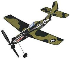 Gayla 11 Wingspan Curtiss P40 Rubber Band Pwd Wood Glider Kit