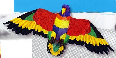 Gayla Industries 55''x24'' Rainbow Parrot Wing Flapper Kite -- Single-Line Kite -- #856