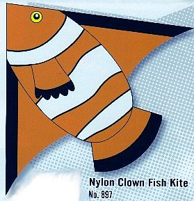 Gayla Industries 55''x42'' Clown Fish Delta Nylon Kite -- Single-Line Kite -- #897