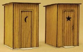 GCLaser Outhouse pkg(2) Kit (Laser-Cut Wood) 13/16 x 13/16 x 1-1/8 HO Scale Model #1145