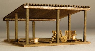 GC Laser Open Storage Shed Kit (Laser-Cut Wood) -- N Scale Model Railroad Accessory -- #296