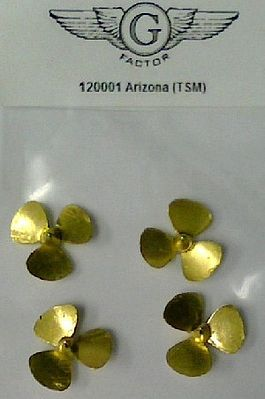 G-Factor models USS Arizona Brass Propellers for Trumpeter -- Plastic Model Ship Accessory -- 1/200 Scale -- #120001