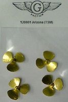G-Factor USS Arizona Brass Propellers for Trumpeter Plastic Model Ship Accessory 1/200 Scale #120001
