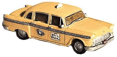 GHQ Checker Taxi Cab w/Decals (Unpainted Metal Kit) -- N Scale Model Railroad Vehicle -- #51011