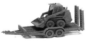 GHQ Bobcat Skid Steer Loader w/Utility Trailer (Unpainted Metal Kit) N Scale Model Vehicle #53007