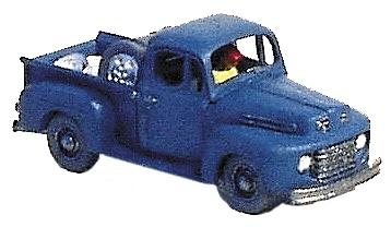 GHQ 1950 Ford F-1 Pickup (Unpainted Metal Kit) -- N Scale Model Railroad Vehicle -- #57008