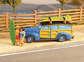 GHQ Woody Station Wagon w/Surfboards & Surfers (Unpainted Metal Kit) N Scale Model Vehicle #57018